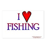 I Love Fishing (hook heart) Postcards (Package of
