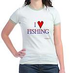 I Love Fishing (hook heart) Jr. Ringer T-Shirt