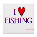 I Love Fishing (hook heart) Tile Coaster