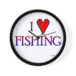 I Love Fishing (hook heart) Wall Clock