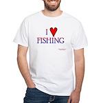 I Love Fishing (hook heart) White T-Shirt