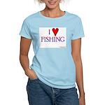 I Love Fishing (hook heart) Women's Pink T-Shirt