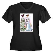 A Chat Women's Plus Size V-Neck Dark T-Shirt