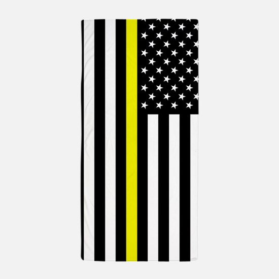U.S. Flag: Thin Yellow Line Beach Towel