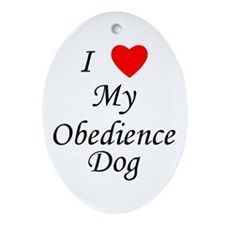 I Love My Obedience Dog Ornament (Oval)