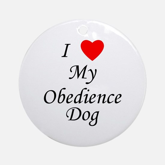 I Love My Obedience Dog Ornament (Round)