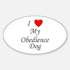 I Love My Obedience Dog Sticker (Oval)
