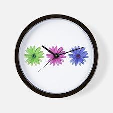 3 color daisies Wall Clock