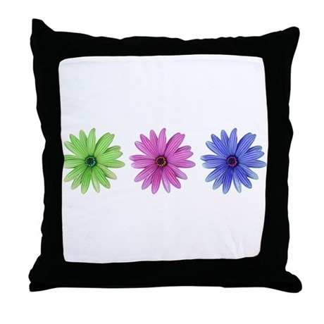 3 color daisies Throw Pillow
