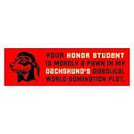 Dachshund Honor Student Bumper Sticker 1
