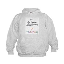 Sign Language Interpreter in Training Hoodie