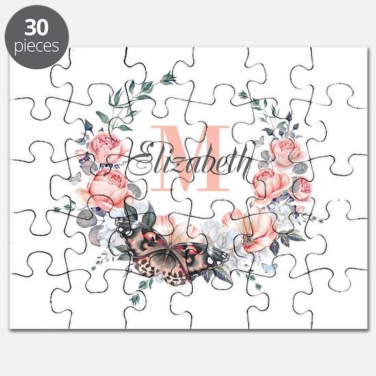 Peach Floral Wreath Monogram Puzzle