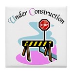 Baby under construction Tile Coaster