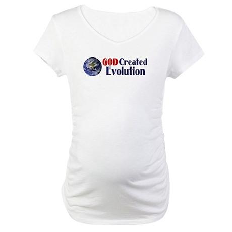 God Created Evolution Maternity T-Shirt