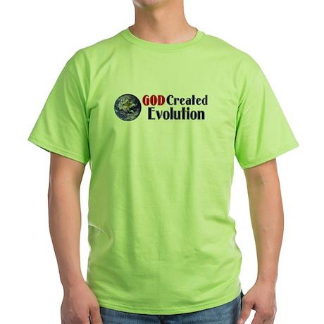 God Created Evolution Green T-Shirt