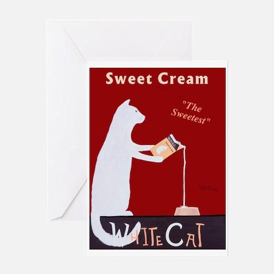 White Cat Sweet Cream Greeting Card