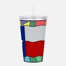 Texas Flag On Stained Acrylic Double-wall Tumbler