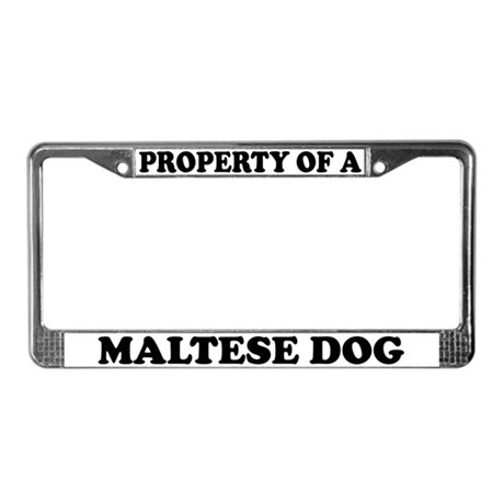 Property Of A Maltese Dog License Plate Frame