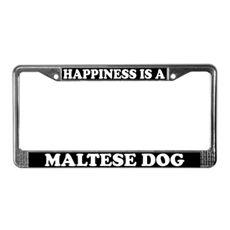 Happiness Is A Maltese Dog License Plate Frame