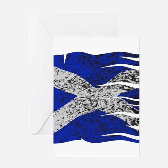Wavy Scotland Flag Grunged Greeting Cards