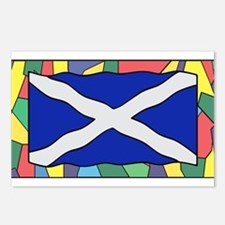 Scotland Flag On Stained Postcards (Package of 8)