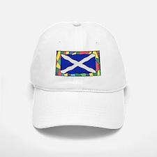 Scotland Flag On Stained Glass Baseball Baseball Cap