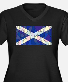 Scotland Flag Stained Glass Wind Plus Size T-Shirt
