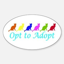 Rainbow Opt to Adopt Oval Decal