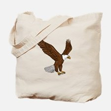Bald Eagle Flying Drawing Tote Bag