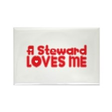 A Steward Loves Me Rectangle Magnet