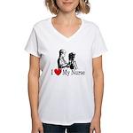I Love My Nurse Women's V-Neck T-Shirt