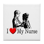 I Love My Nurse Tile Coaster