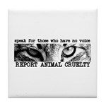 Report Animal Cruelty Cat Tile Coaster