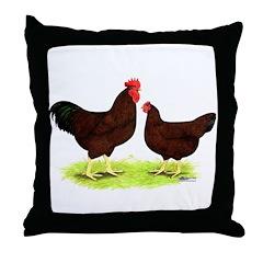 Rhode Island Red Fowl Throw Pillow