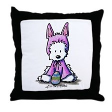Easter Bunny Westie Throw Pillow