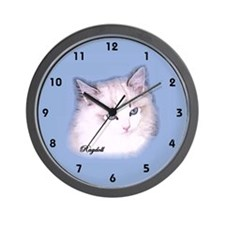 Ragdoll Wall Clock seal lynx bi blue background