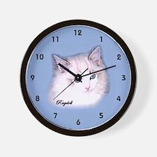 Ragdoll Wall Clock seal lynx bi blue background