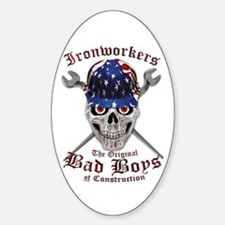 Ironworker Bad Boys Us Flag Hardhat Decal