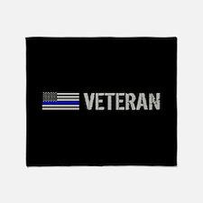 Police: Veteran (Thin Blue Line) Throw Blanket