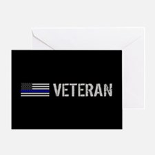 Police: Veteran (Thin Blue Line) Greeting Card