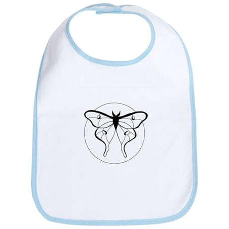 Black & White Luna Moth Bib