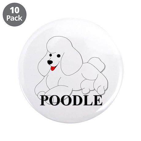 "Cartoon Poodle 3.5"" Button (10 pack)"