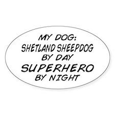 Shetland Sheepdog Superhero Oval Decal