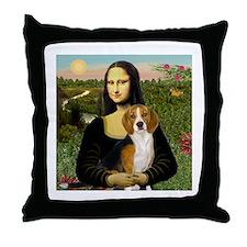 Mona Lisa & Beagle Throw Pillow