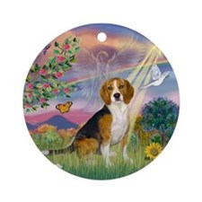 CloudAngel-Beagle Ornament (Round)