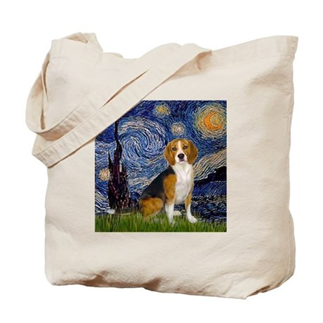 Starry Night & Beagle Tote Bag