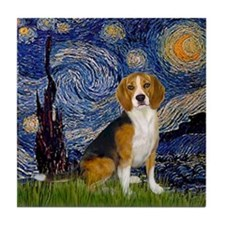 Starry Night & Beagle Tile Coaster