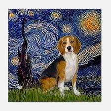 Starry Night & Beagle Tile Coaster
