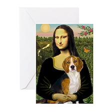 Mona Lisa & Beagle Greeting Cards (Pk of 10)