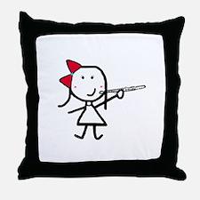 Girl & Flute Throw Pillow